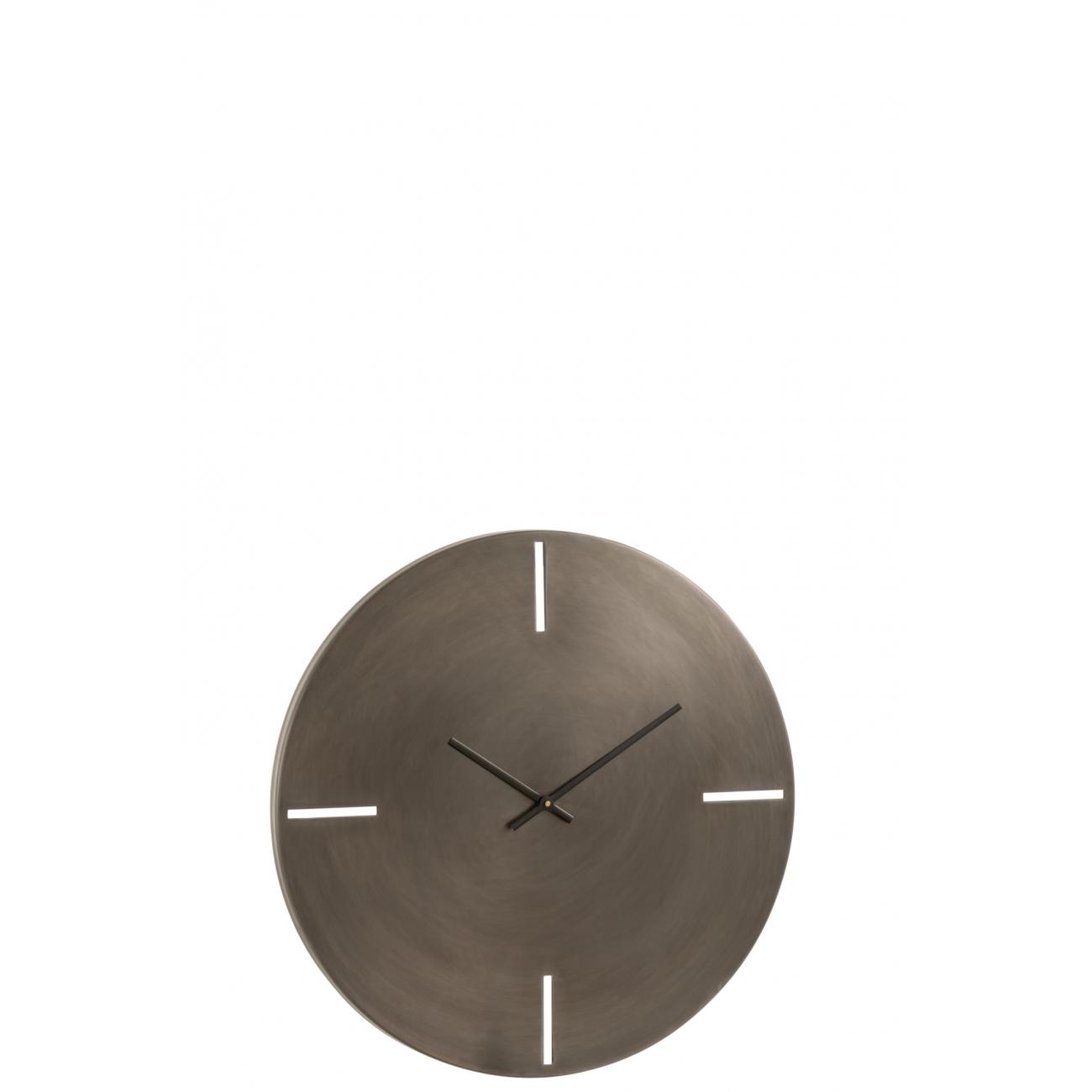 Настенные часы  J-LINE круглые серого матово цвета в алюминиевом корпусе диаметр 51 см Бельгия