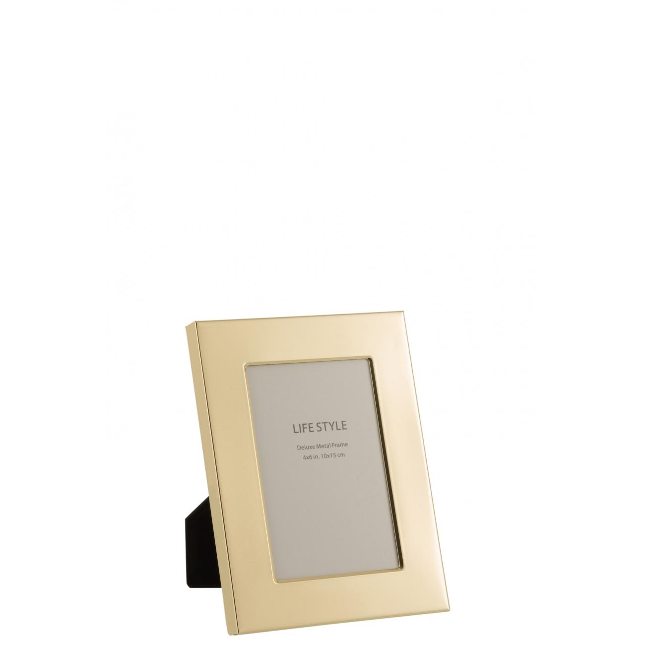 Фоторамка J-LINE металлическая зеркальная золотого цвета 10х15 см Бельгия