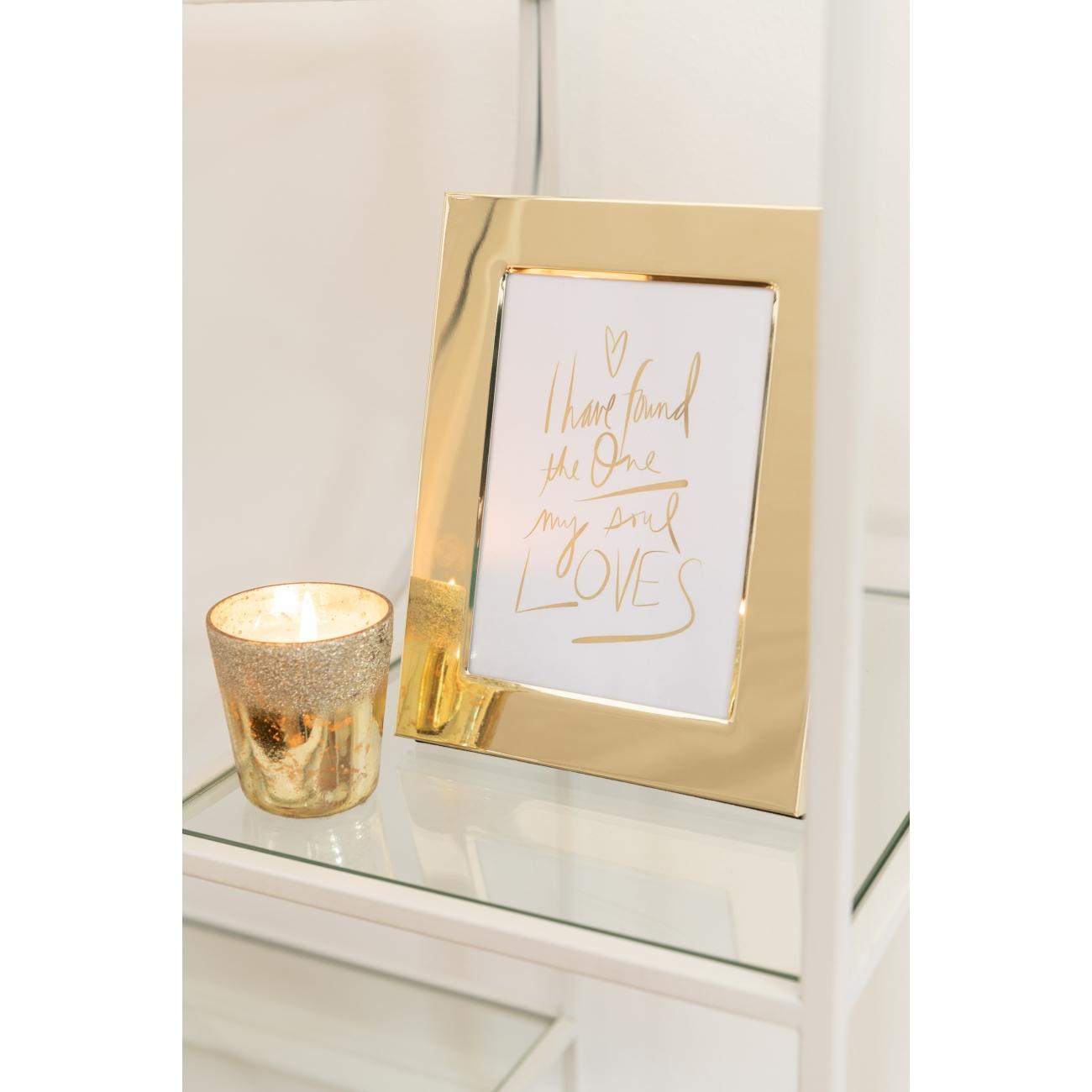 Фоторамка J-LINE металлическая зеркальная золотого цвета 13х18 см Бельгия