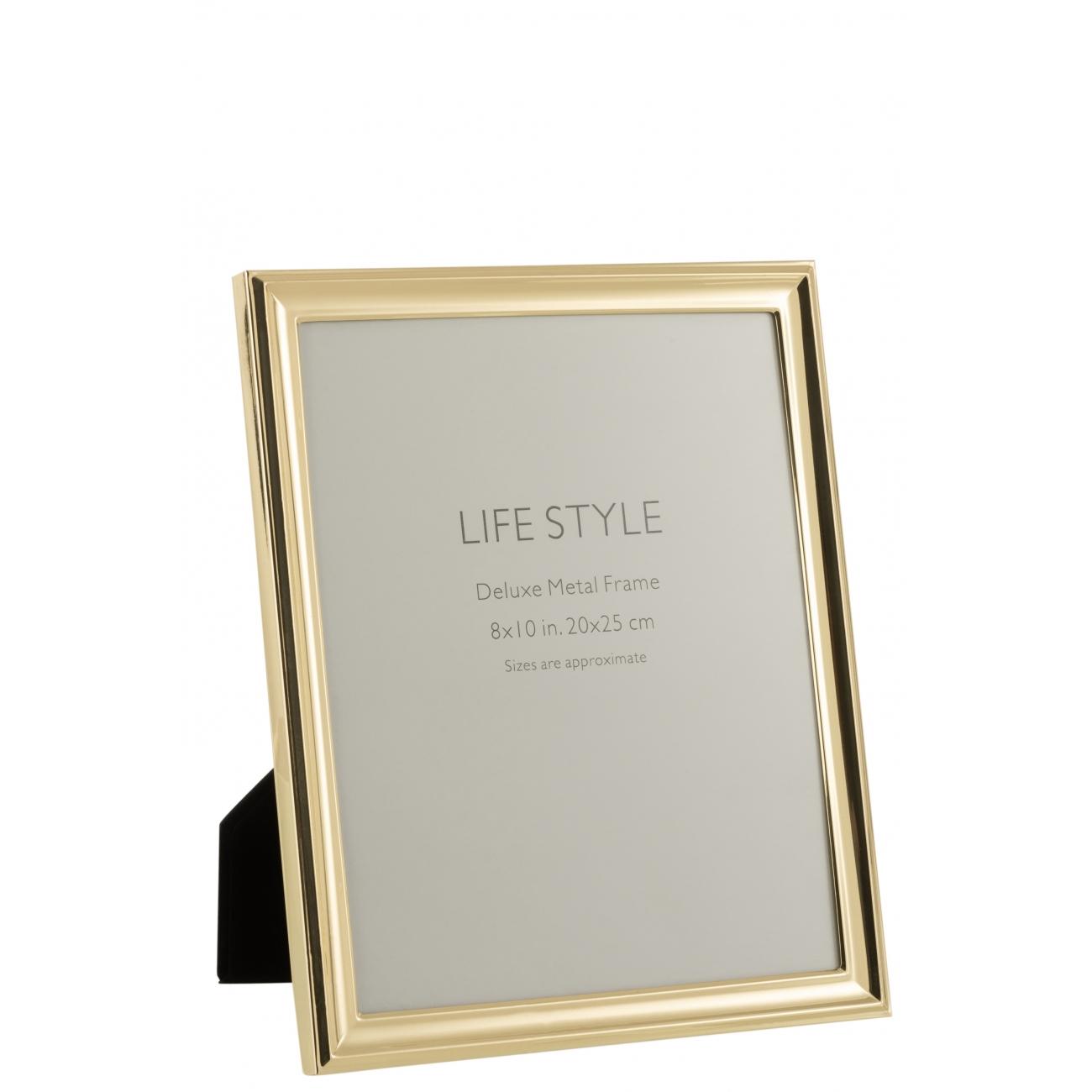 Фоторамка J-LINE металлическая классическая золотистая 20х25 см Бельгия