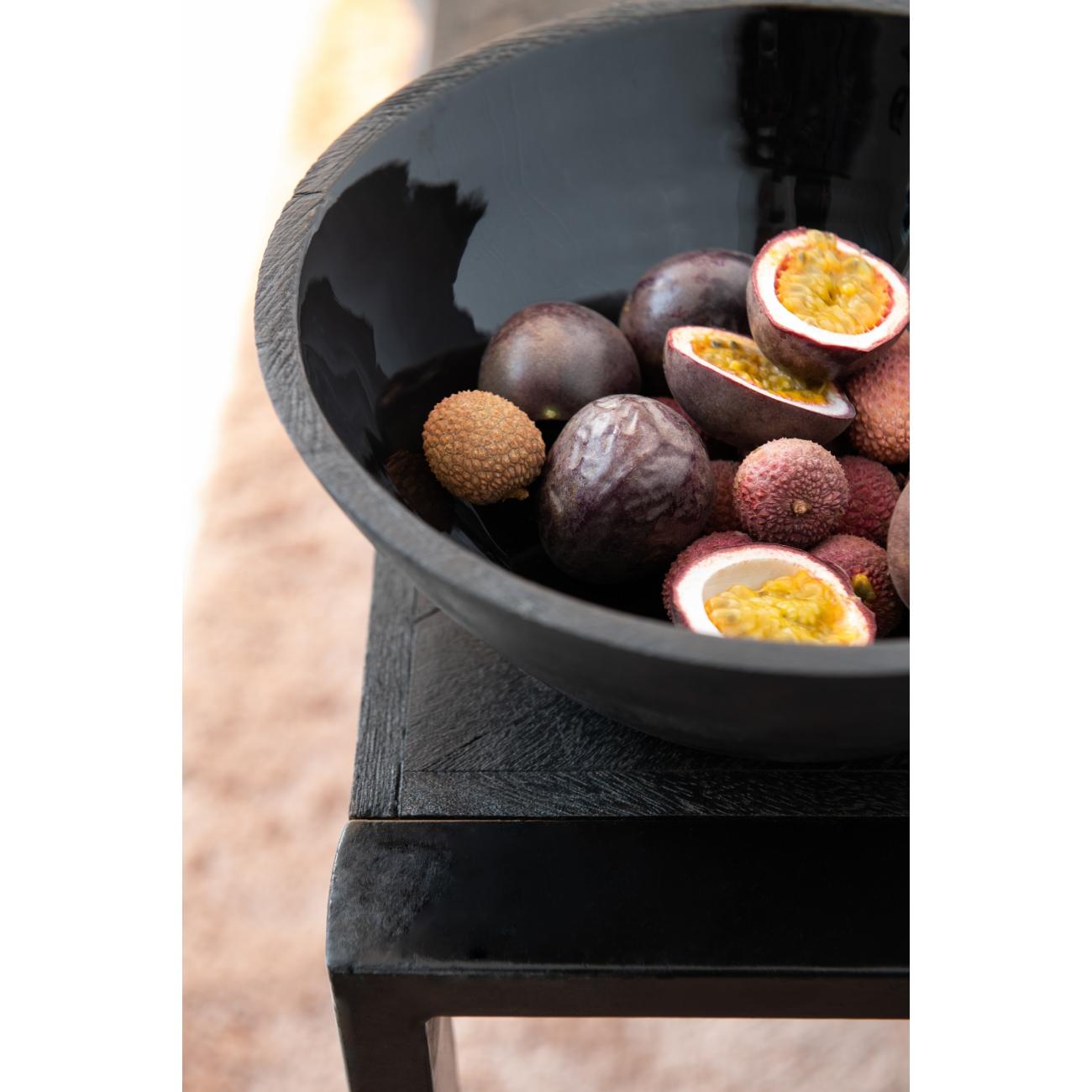 Блюдо салатник J-LINE из дерева манго черного цвета диаметр 30 см Бельгия