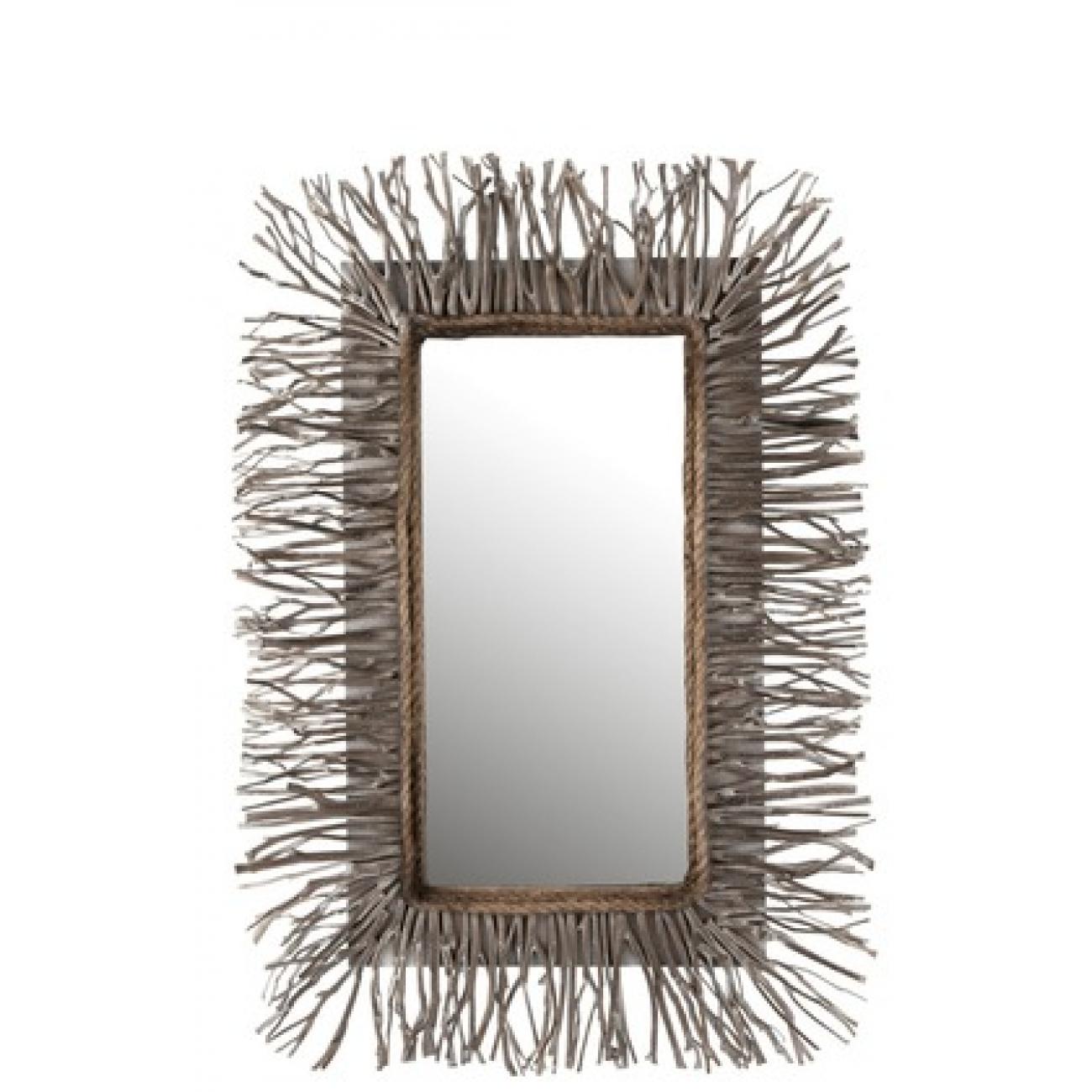 Прямоугольное настенное зеркало J-LINE в деревянной раме с элементами из натурального дерева 67х95 см Бельгия