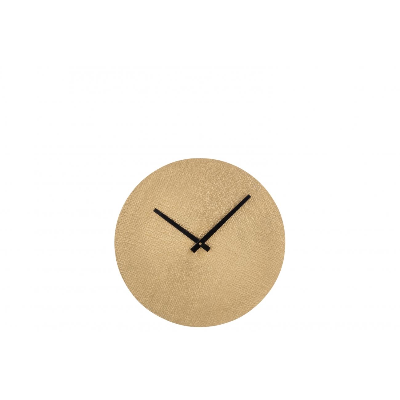 Настенные часы  J-LINE круглые золотистые в текстурном алюминиевом корпусе диаметр 38 см Бельгия