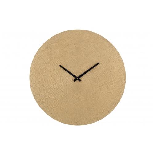 Настенные часы  J-LINE круглые золотистые в текстурном алюминиевом корпусе диаметр 56 см Бельгия