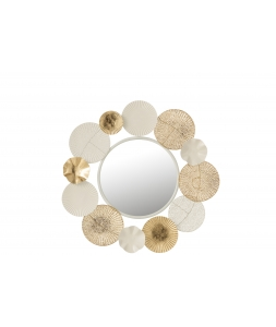 Зеркало J-LINE настенное круглое с декором из золотых кругов диаметр 69 см Бельгия