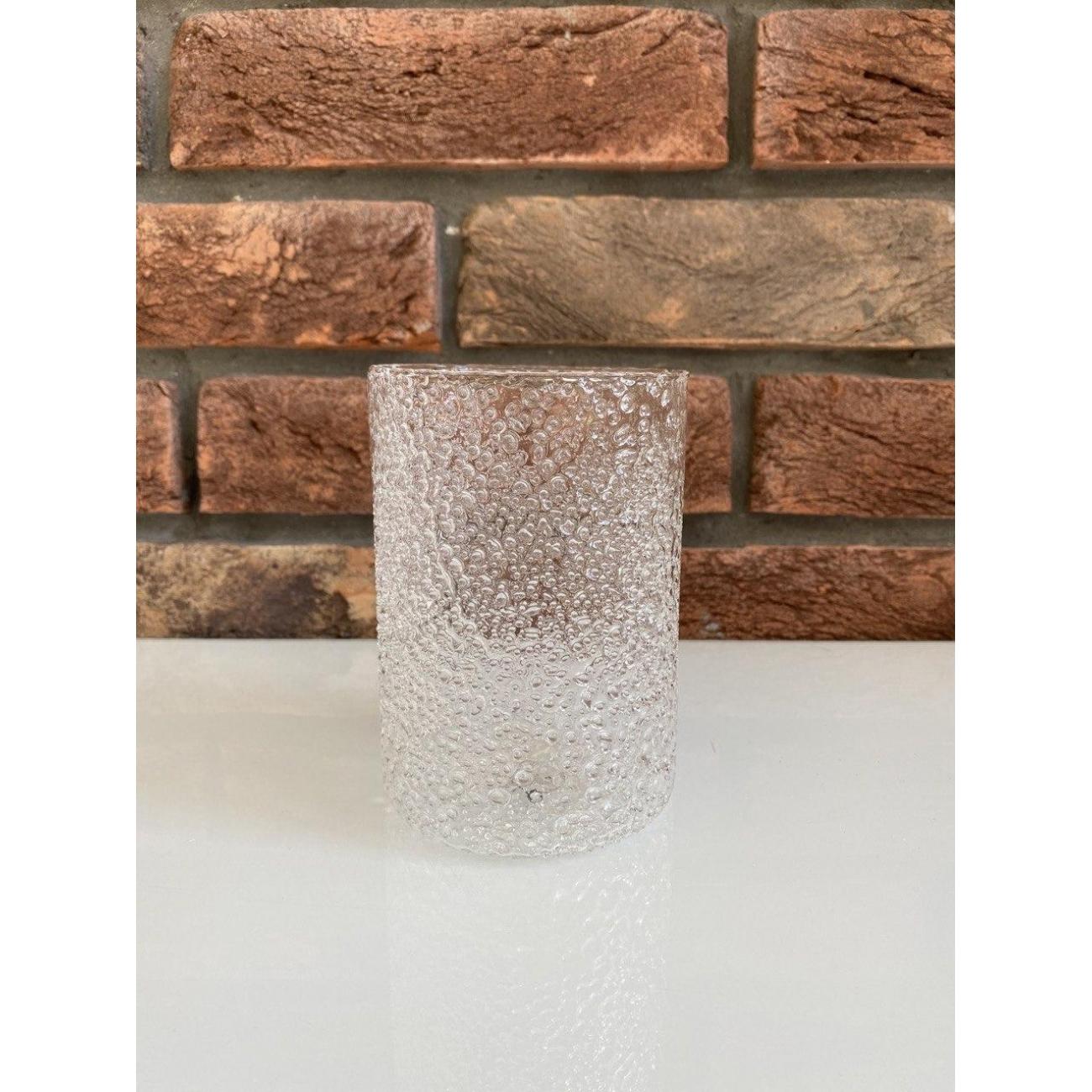 Подсвечник J-LINE стеклянный с эффектом пузырьков 13 см