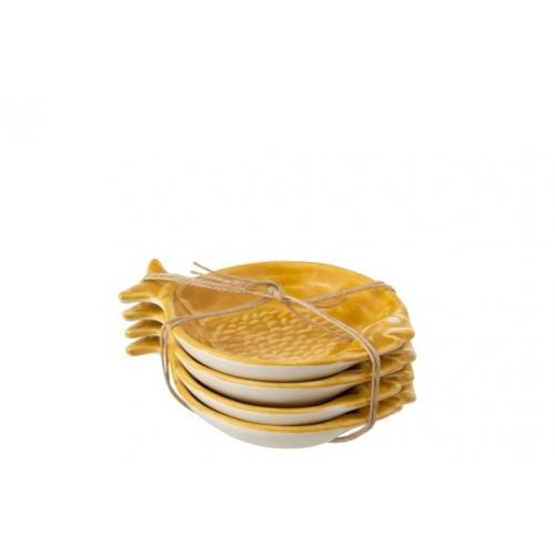 Набор керамических тарелочек J-LINE в форме рыбок желтый 14х11 см Бельгия