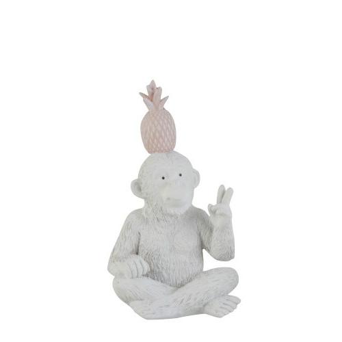 Статуэтка обезьяна с ананасом J-LINE жест победы белая высота 20 см Бельгия