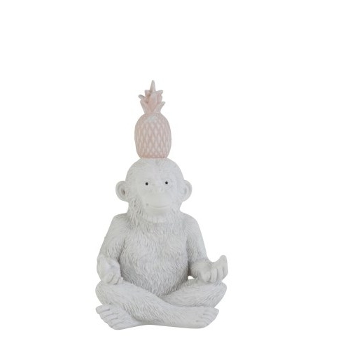 Статуэтка обезьяна с ананасом J-LINE жест спокойствия белая высота 20 см Бельгия