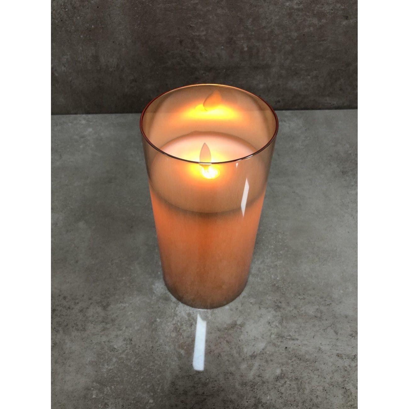 Ночник  J-LINE с имитацией живого огня коричневый 20 см