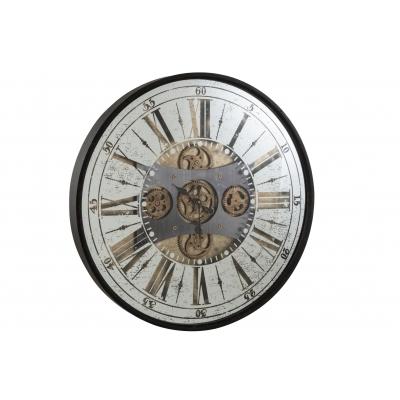 Настенные часы J-LINE круглые в металлическом корпусе зеркальные с видимым механизмом диаметр 78 см Бельгия
