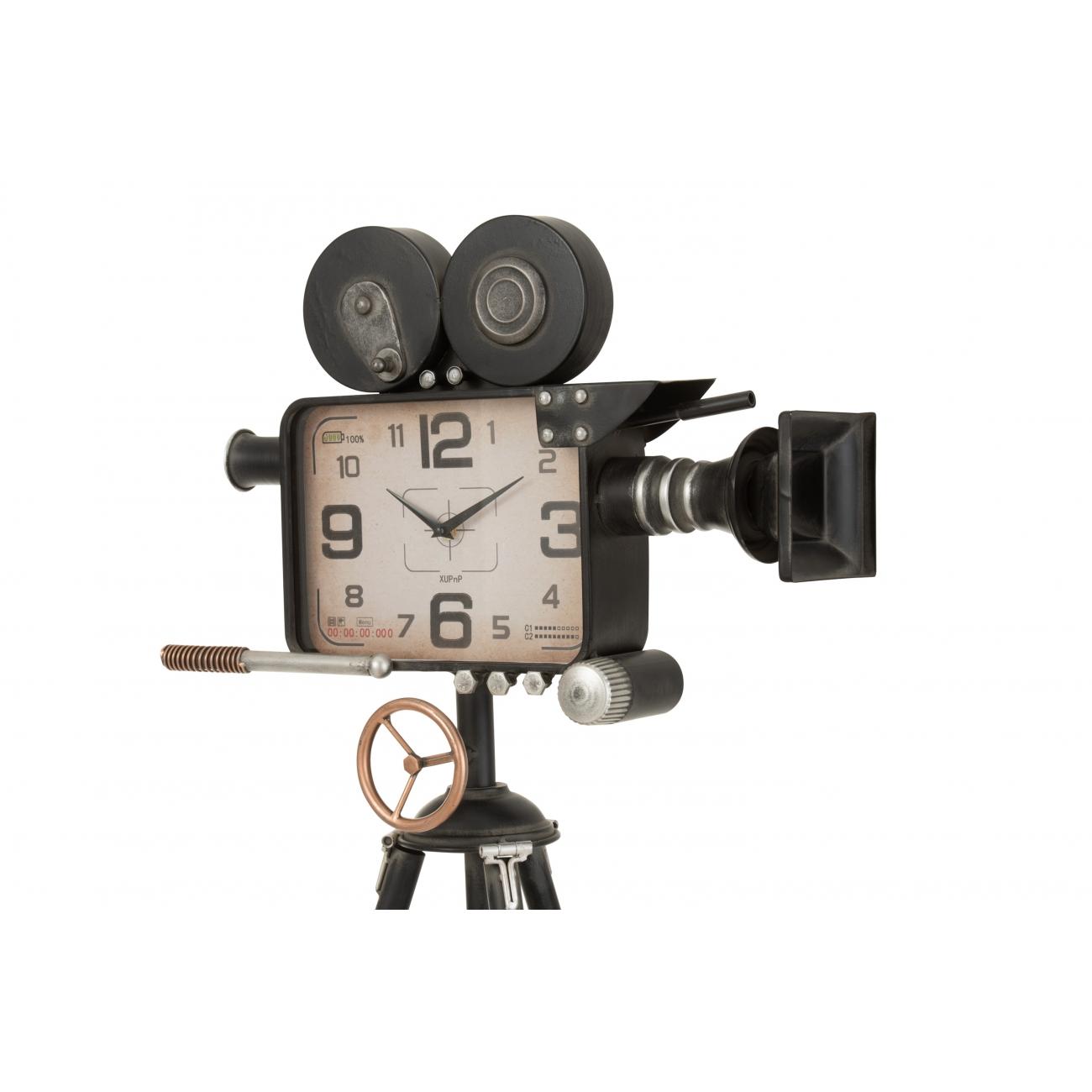 Напольные часы J-LINE в форме старой ведеокамеры на штативе металлические черные высота 153 см Бельгия