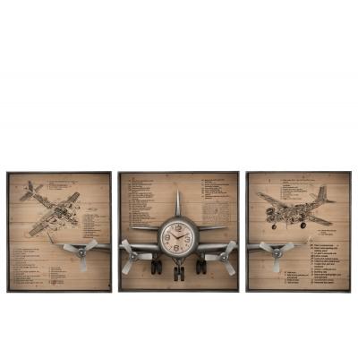 Настенные часы J-LINE в форме самолета в трех рамках длина 226 см Бельгия