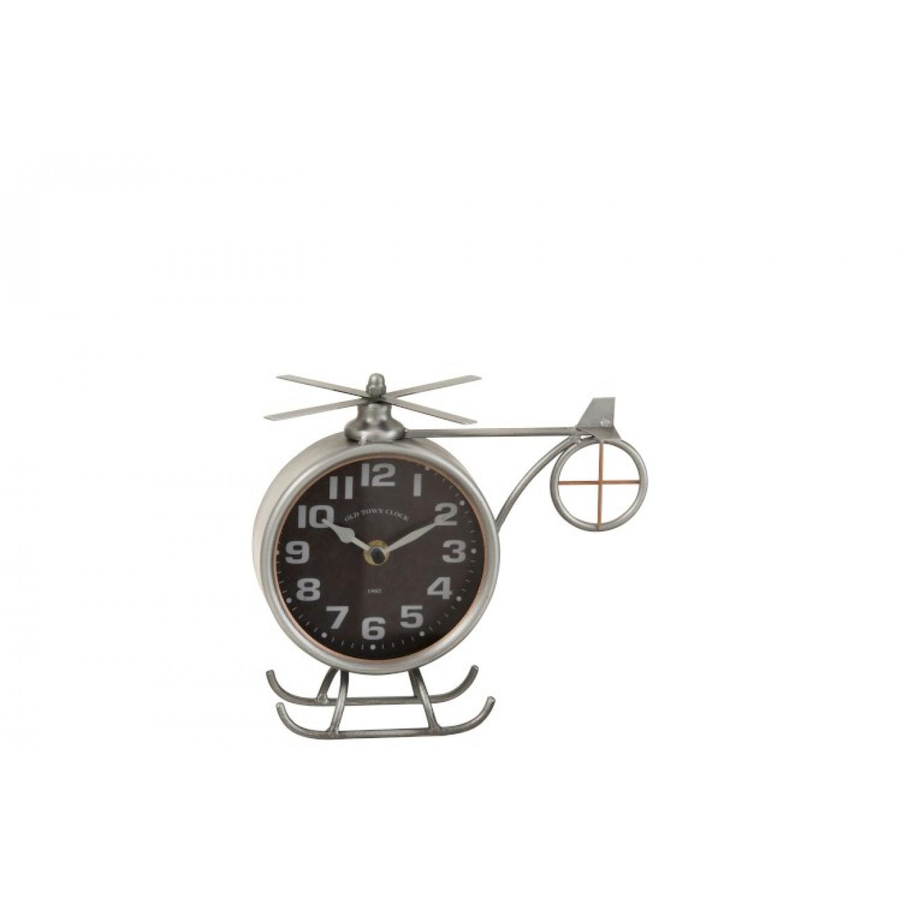 Настольные часы  в форме вертолета  J-LINE металлические серые