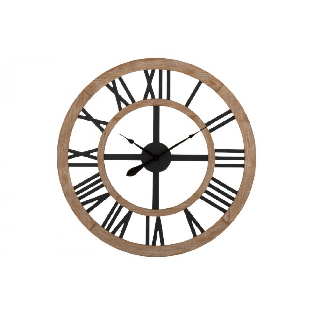 Настенные часы J-LINE круглые в деревянном корпусе с римскими цифрами диаметр 90 см