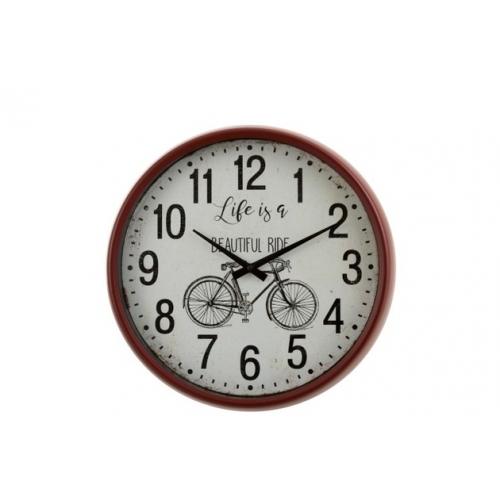 Настенные часы J-LINE круглые красные в металлическом корпусе с изображением велосипеда диаметр 40 см