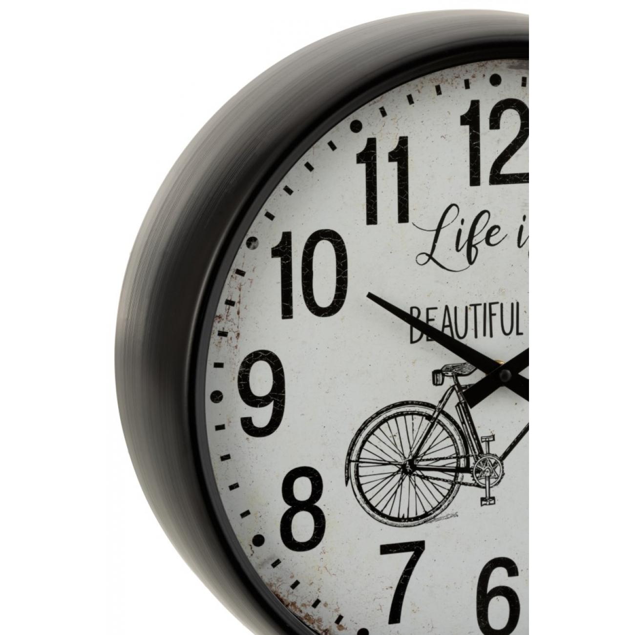 Настенные часы J-LINE круглые черные в металлическом корпусе с изображением велосипеда диаметр 40 см