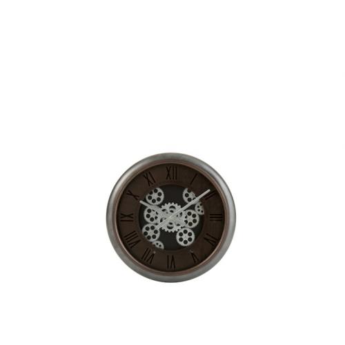 Настенные часы J-LINE круглые в металлическом корпусе с серебряным механизмом диаметр 52 см