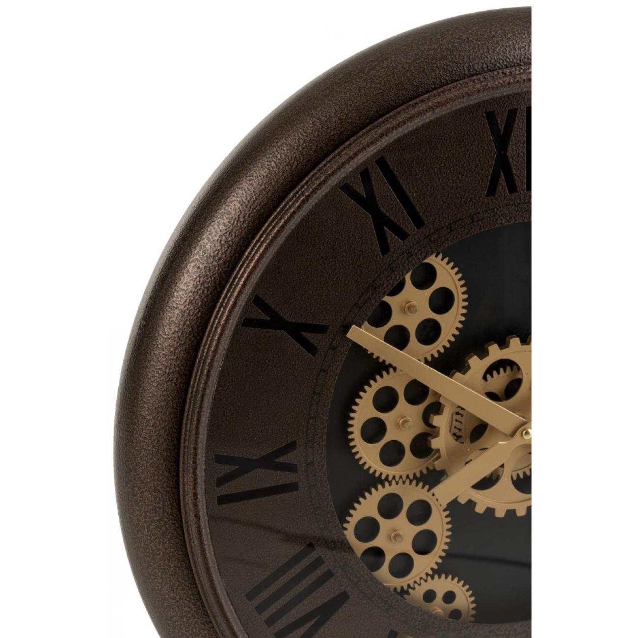 Настенные часы J-LINE круглые в металлическом корпусе с золотым механизмом диаметр 52 см