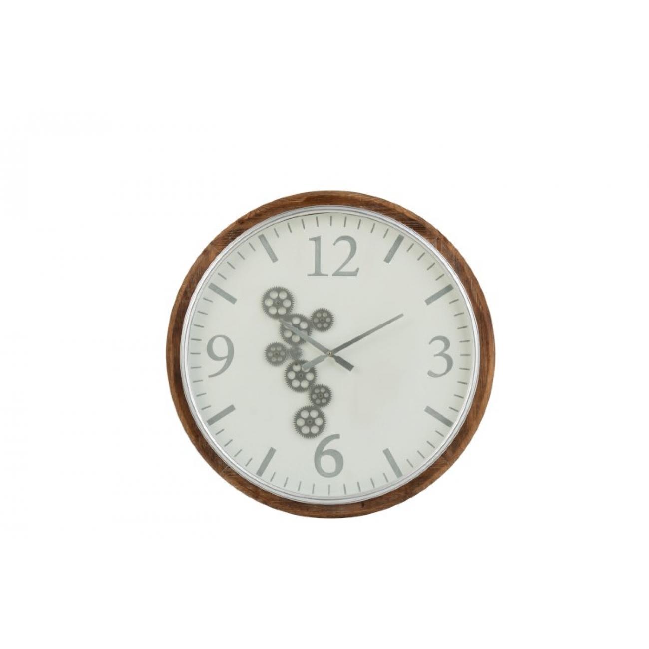 Настенные часы J-LINE круглые в деревянном корпусе диаметр 75 см