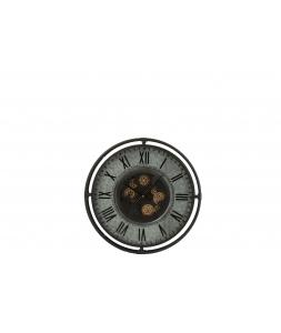 Настенные часы J-LINE круглые в металлическом корпусе серые с золотистым механизмом диаметр 69 см Бельгия