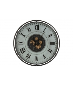 Настенные часы J-LINE круглые в металлическом корпусе серые с золотистым механизмом диаметр 109 см Бельгия