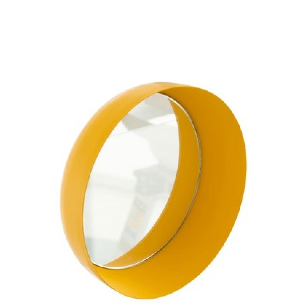 Набор круглых настенных зеркал J-LINE из трех штук в матовой металлической раме желтого цвета Бельгия