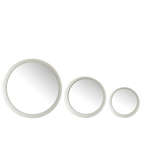 Набор круглых настенных зеркал J-LINE из трех штук в матовой металлической раме белого цвета Бельгия