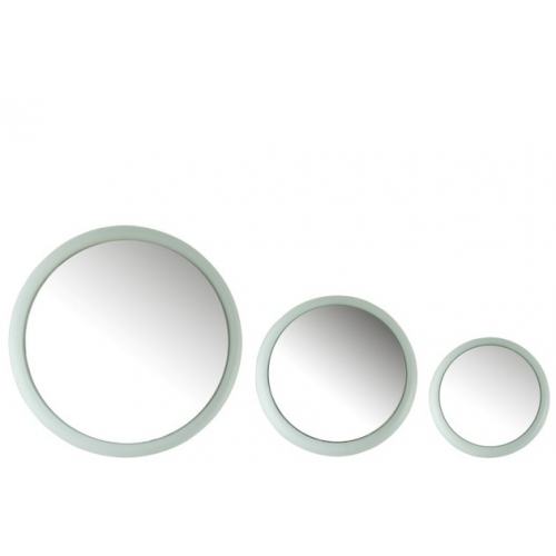 Набор круглых настенных зеркал J-LINE из трех штук в матовой металлической раме светло-бирюзового цвета Бельгия