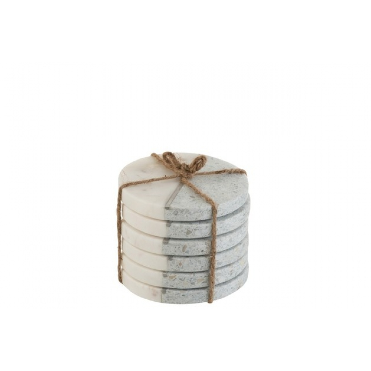 Набор из 6-ти подставок под чашки J-LINE камень и мрамор  диаметр 10 см
