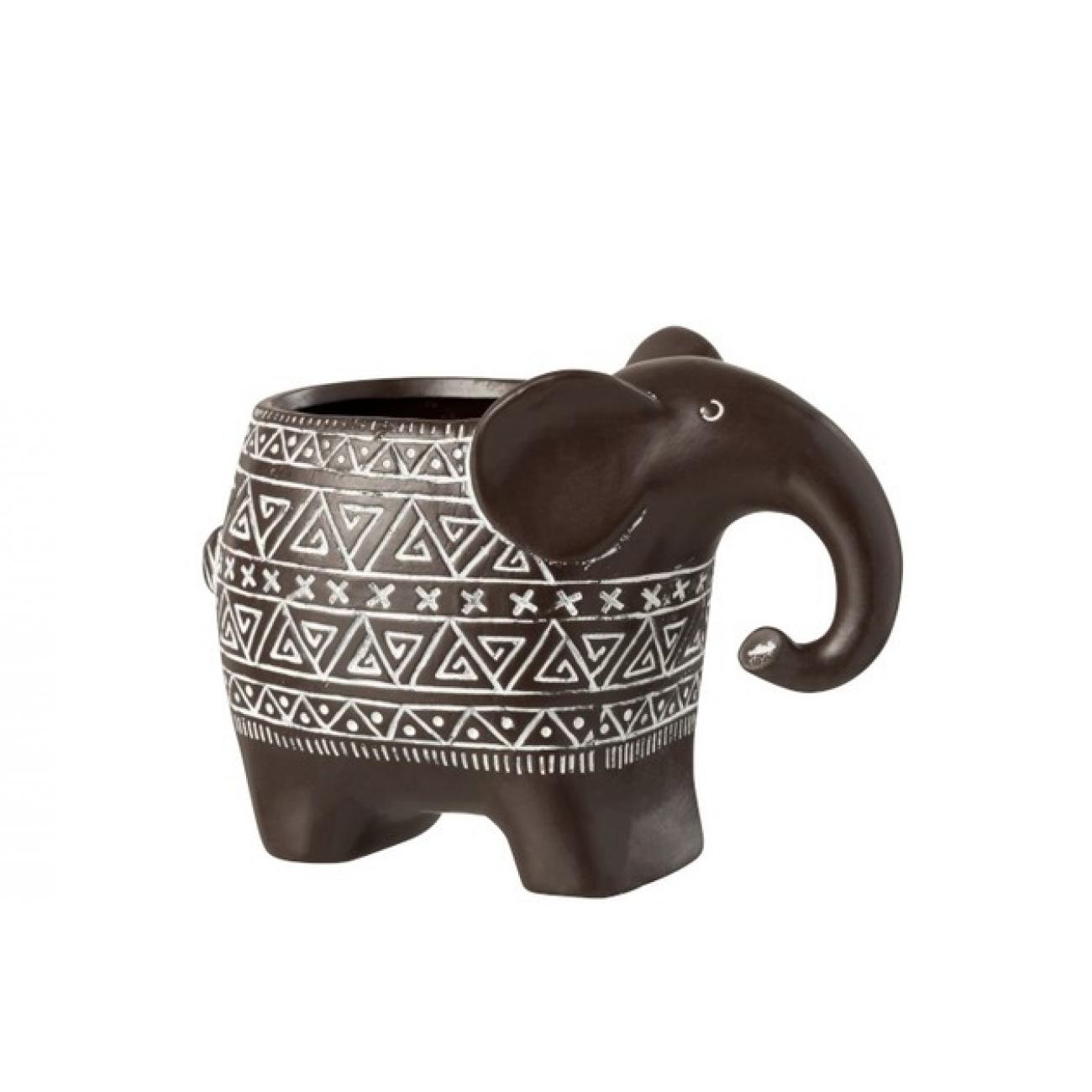 Кашпо J-LINE в форме слона с состаренным эффектом  коричневого цвета керамика 21х15х13