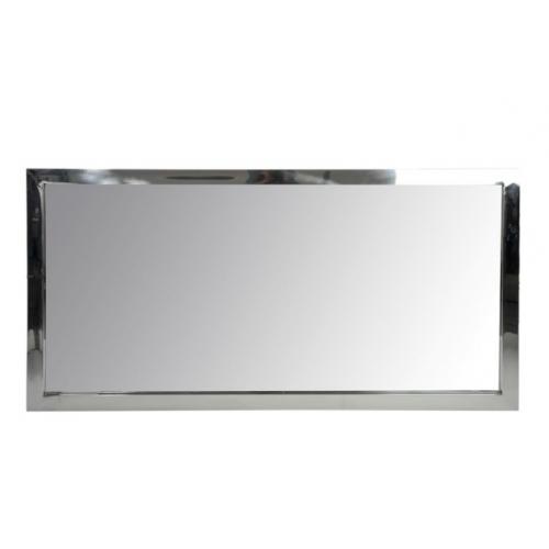 Зеркало J-LINE настенное прямоугольное в раме из нержавеющей стали серебристого цвета 180х90 см Бельгия