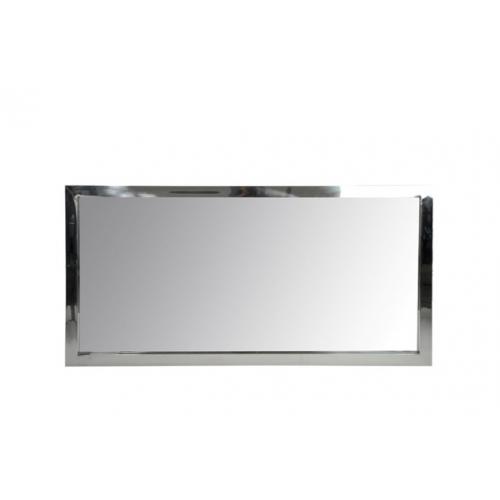 Зеркало J-LINE настенное прямоугольное в раме из нержавеющей стали серебристого цвета 130х70 см Бельгия