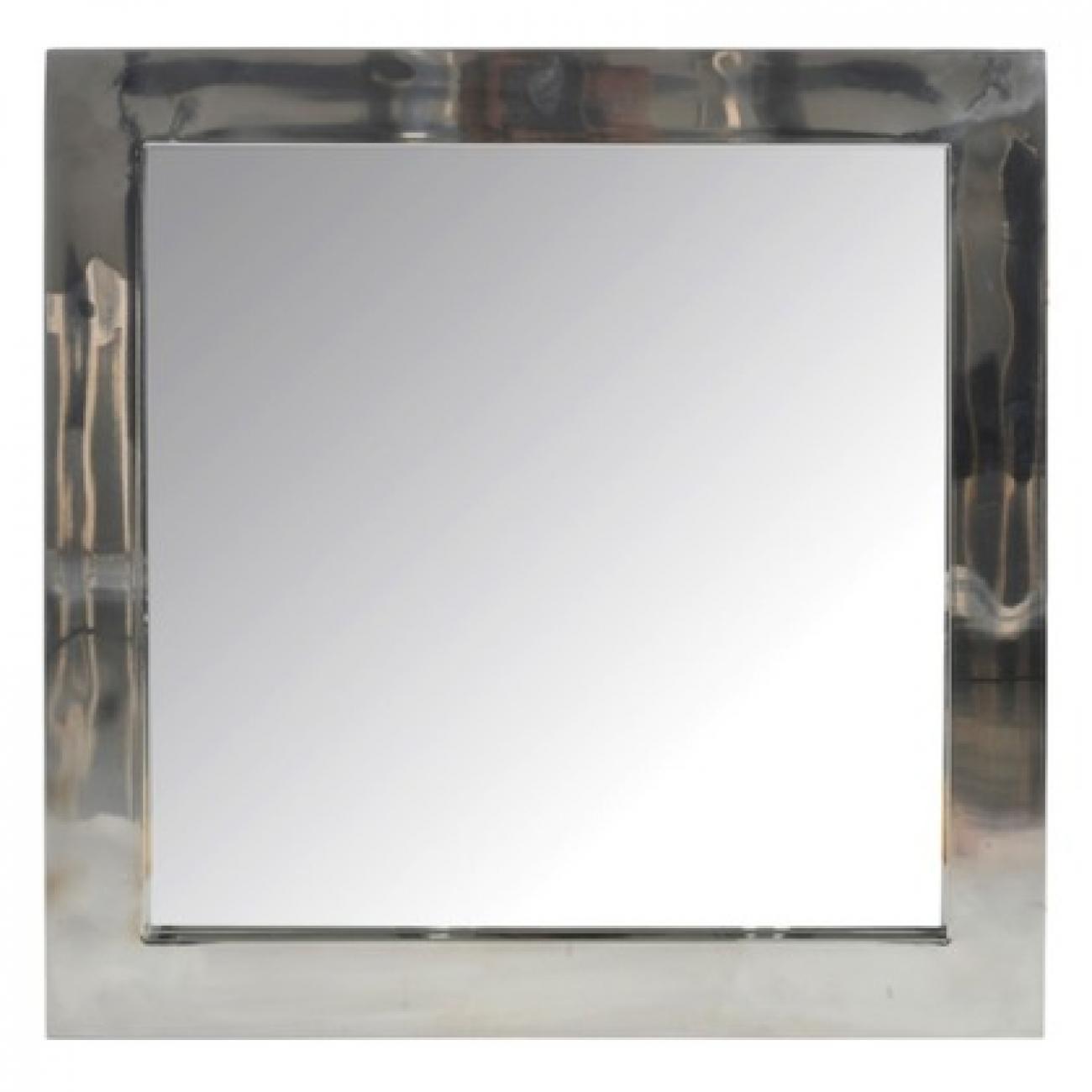 Зеркало J-LINE настенное квадратное в раме из нержавеющей стали серебристого цвета 60х60 см Бельгия