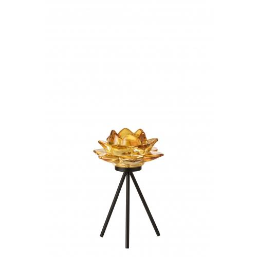 Подсвечник J-LINE стеклянный на треноге в форме цветка желтого цвета высота 18 см