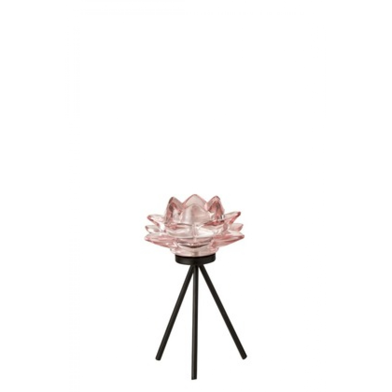 Подсвечник J-LINE стеклянный на треноге в форме цветка розового цвета высота 18 см