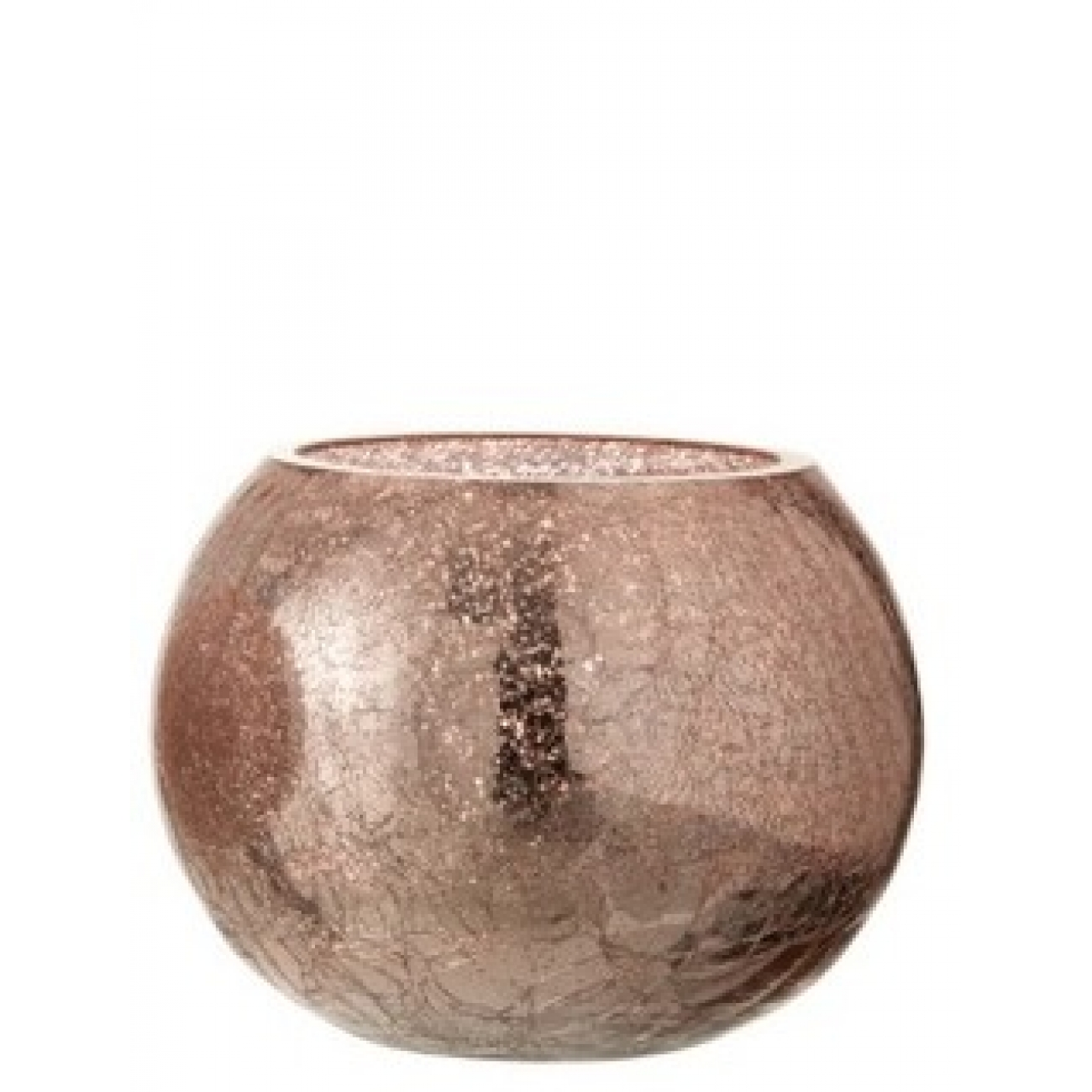Подсвечник J-LINE стеклянный с эффектом разбитого стекла глянцевый розового цвета 15х15 см