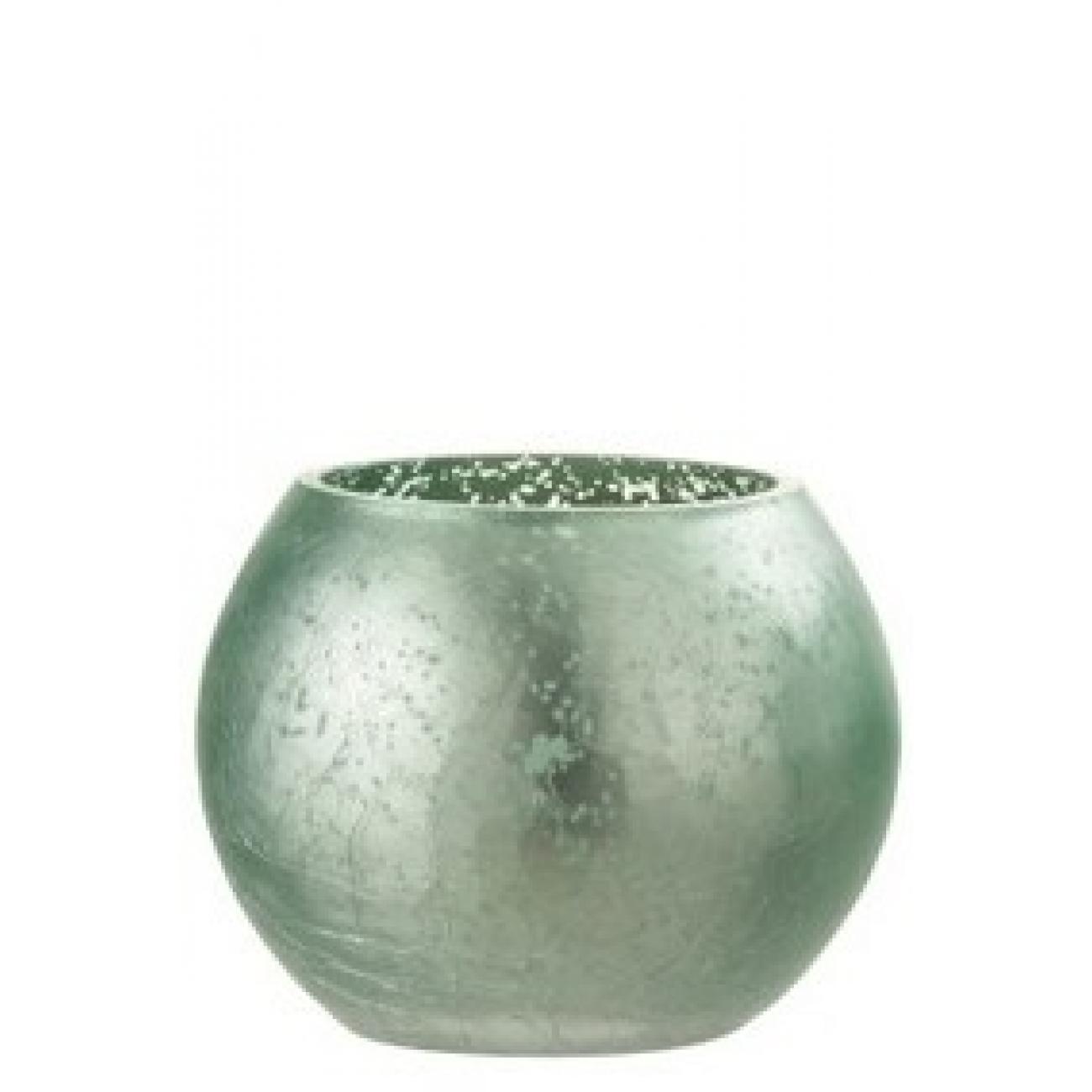 Подсвечник J-LINE стеклянный с эффектом разбитого стекла матовый зеленого цвета 12х12