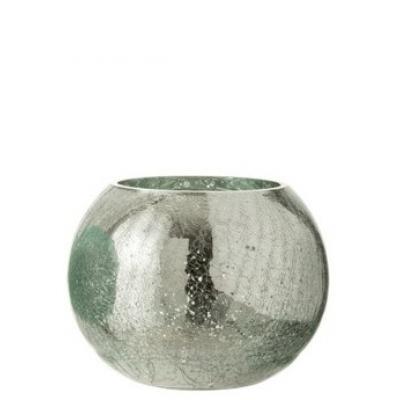 Подсвечник J-LINE стеклянный с эффектом разбитого стекла глянцевый зеленого цвета 15х15