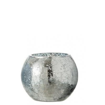 Подсвечник J-LINE стеклянный с эффектом разбитого стекла глянцевый синего цвета 12х12