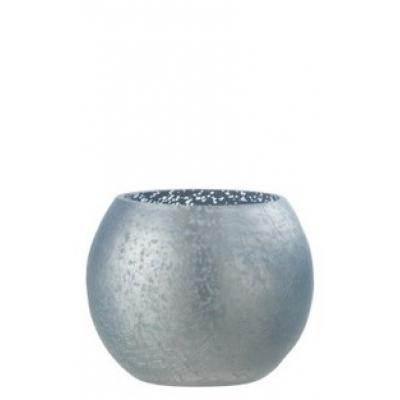 Подсвечник J-LINE стеклянный с эффектом разбитого стекла матовый синего цвета 12х12