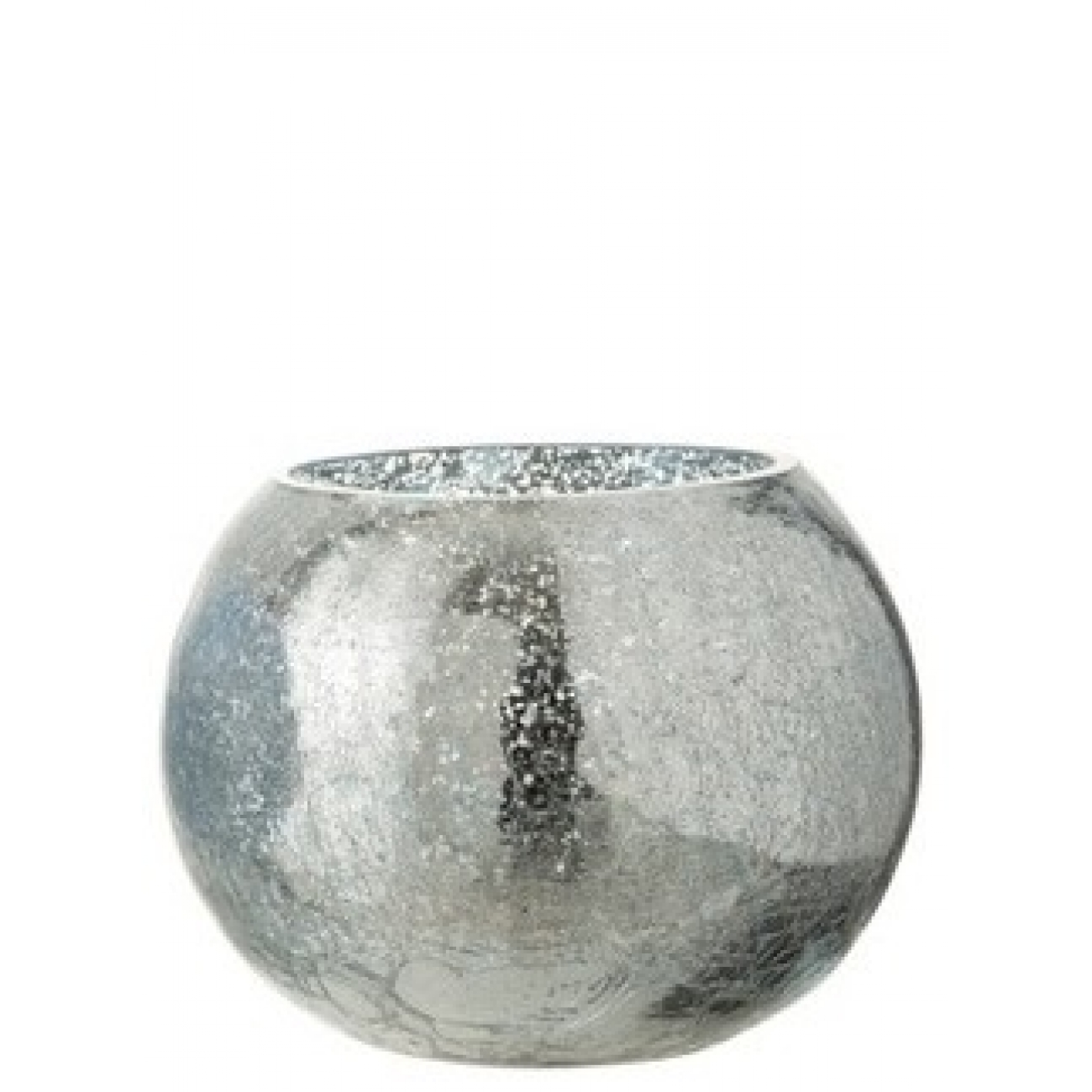Подсвечник J-LINE стеклянный с эффектом разбитого стекла глянцевый синего цвета 15х15
