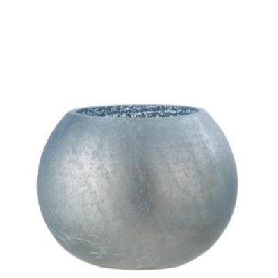 Подсвечник J-LINE стеклянный с эффектом разбитого стекла матовый синего цвета 15х15