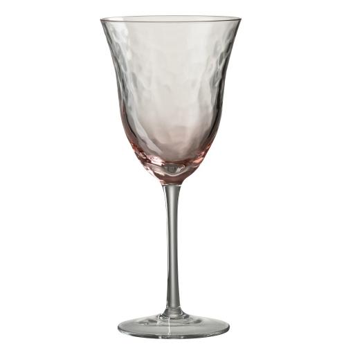 Бокал для вина стеклянный  J-LINE обьем 360 мл розового цвета  Бельгия