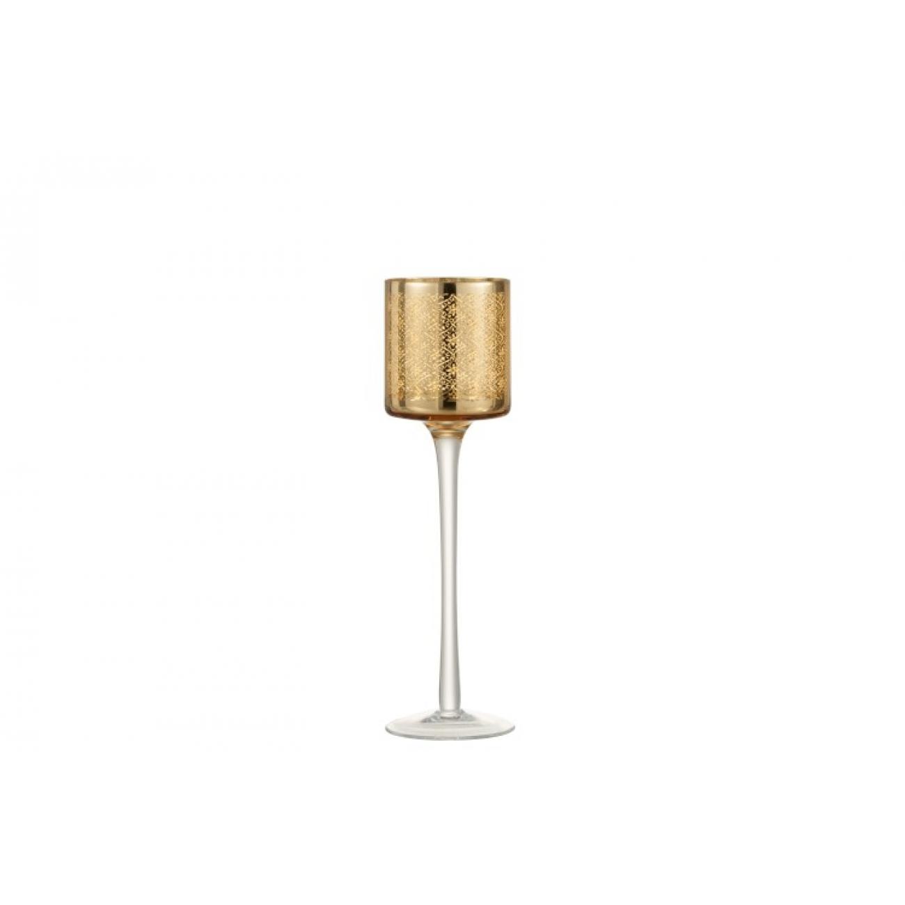 Подсвечник J-LINE золотой стеклянный на тонкой ножке 25 см