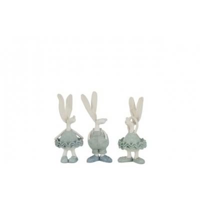 Набор статуэток J-LINE три зайца в одежке высота 17 см