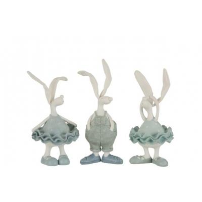 Набор статуэток J-LINE три зайца в одежке высота 25 см