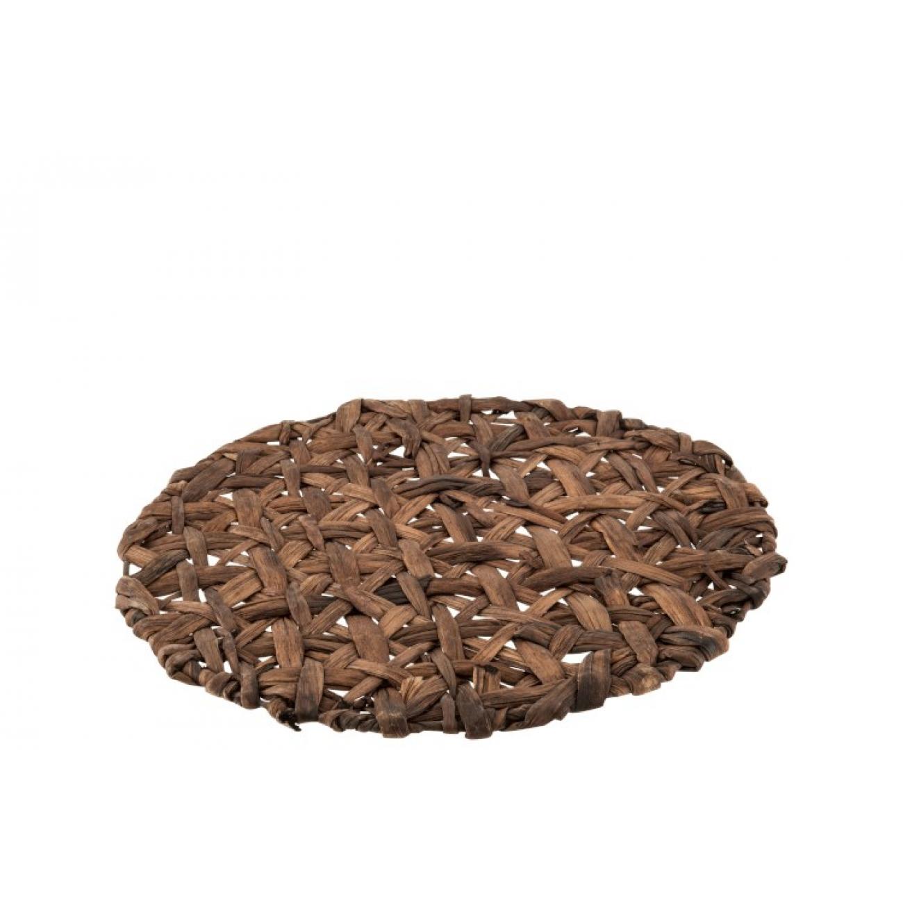Сервировочный круглый коврик J-LINE из ротанга коричневого цвета 38 см