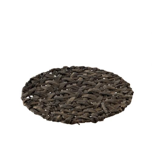 Сервировочный круглый коврик J-LINE из ротанга серого цвета 38 см