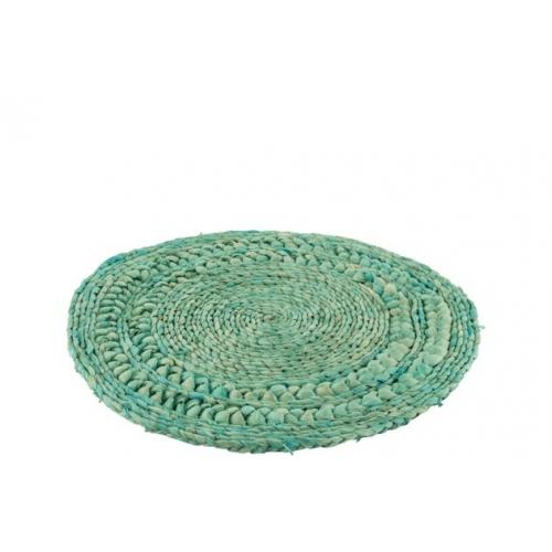 Сервировочный круглый коврик J-LINE из ротанга и камыша бирюзового цвета 38 см